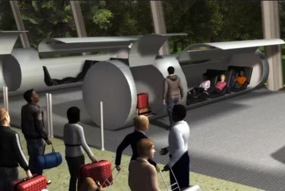 Capture d'écran d'une démonstration de la technologie développée par ET3, probablement proche de l'Hyperloop